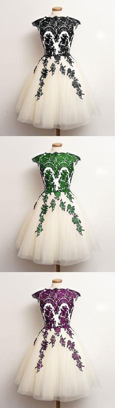unique lace tulle short prom dress, lace bridesmaid dress, lace cute homecoming dress for teens