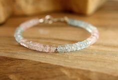 Morganite Aquamarine bracelet with sterling silver clasp. Pale pink and aqua…