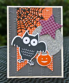 Krystal's Cards: Stampin' Up! Howl-o-ween Treat Owl #stampinup #krystals_cards #howloweentreat #halloweencard #onlinestampclass #handstamped #papercrafts #cardmaking