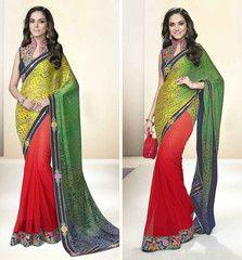 Green & Red Color Half Net & Half Georgette Designer Party Wear Sarees : Tripuri Collection  YF-40969
