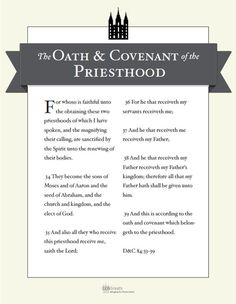 Oath & Covenant of the Priesthood POSTER