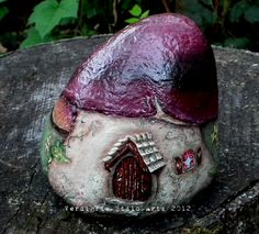 rock concert painted on rocks | Hand Painted Rock Mushroom Fairy Gnome House on Luulla