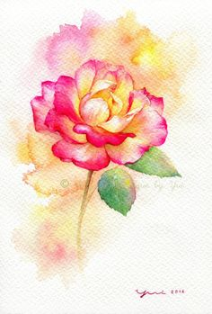 "PRINT – Rose Watercolor painting 7.5 x 11"" - Artist... Yui from Bangkok Thailand **** Stunning, reminds me of a Peace Rose. <3"