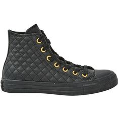 Pre-owned Converse Leather Trainers ($59) ❤ liked on Polyvore featuring shoes, sneakers, black, women shoes trainers, quilted sneakers, leather sneakers, black leather sneakers, black trainers and black sneakers