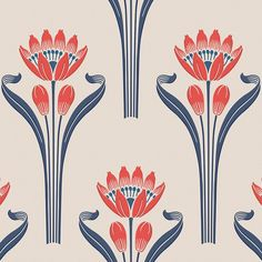 Buy online Tulipes By isidore leroy, non-woven paper wallpaper with floral pattern, heritage Collection Event Signage, Paper Wallpaper, Deco Design, Repeating Patterns, Art Deco Fashion, Zentangle, Art Nouveau, Pattern Design, Floral Design