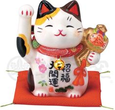 ・ornament for good luck・size: H7cm・with a red cushion Red Cushions, Cute Cushions, Lucky Cat Tattoo, Maneki Neko, Good Luck, Anime Cat, Little Boxes, Cat Collars, Japan