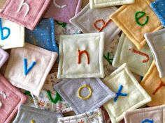 Alphabet Tiles : 8 Steps (with Pictures) - Instructables Different Alphabets, Tracing Letters, Quilt Batting, So Creative, Graph Paper, Embroidery Needles, Dmc Floss, Fabric Squares, Satin Stitch