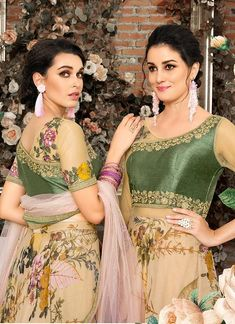 Green Multicoloured Floral Embroidered Lehenga Choli Suit will indulge you to look more beautiful on this wedding season with its classic combination and design. Bridal Anarkali Suits, Anarkali Lehenga, Lehenga Blouse, Bridal Lehenga, Beige Wedding, Wedding Wear, Floral Wedding, Lehenga Style, Indian Gowns Dresses