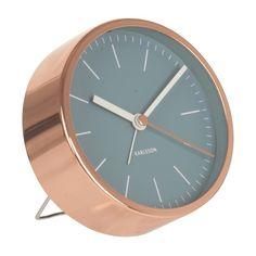 Karlsson Alarm Clock Minimal - Blue - round copper desk clock
