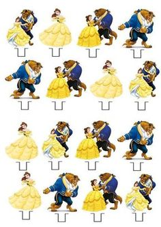 Beauty and The Beast STAND UP Cupcake Fairy Cake Toppers Edible Decorations in Crafts, Cake Decorating | eBay
