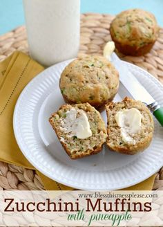 Moist tender Zucchini Pineapple Muffins that can be made with whole wheat flour if you like from www.blessthismessplease.com