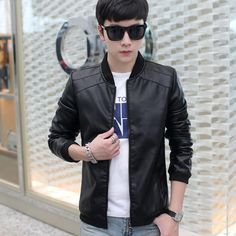 >> Click to Buy << 2016 Spring and Autumn men's thin section leather jacket Slim Fit leather collar short paragraph PU leather stitching coat #Affiliate