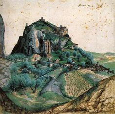 Albrecht Dürer, View of the Arco Valley in the Tyrol, 1495. Pen, ink, watercolor. Louvre, Paris.
