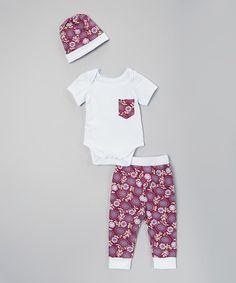 Love this Purple Floral Bodysuit Set - Infant on #zulily! #zulilyfinds