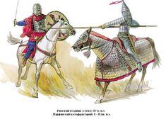 0350 c. Jinete de Constantino y persa de los soglo I y II
