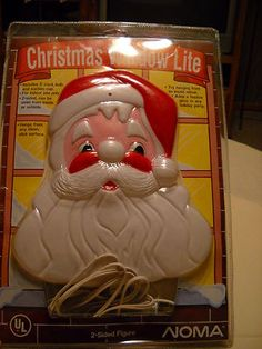 Vintage 1990 Noma Christmas Window Lite 2 Sided Blow Mold Santa Claus
