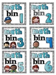 Free Math Bin labels!