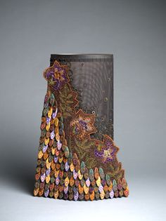 """Lindsay Ketterer Gates   """"Renewal"""". Coated copper knotless netting, stainless mesh, joiner biscuits, steel with patina, paint"""