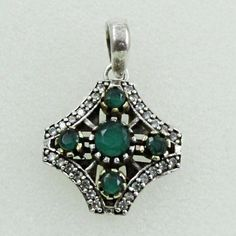 CUBIC ZIRCONIA & EMERALD AGATE AWESOME DESIGN 925 STERLING SILVER PENDANT #SilvexImagesIndiaPvtLtd #Pendant