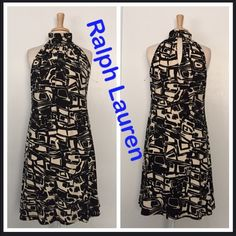 "Ralph Lauren Black/Cream Printed Dress Size 12 NWOT! Ralph Lauren is a high quality Brand, very well made clothing and this Dress is no exception. This classic bold print can become even bolder with bright heels/accessories! Length Is 38"" Bust is 20"" Pull over style dress (no zipper) Buttons from the back on the top (See Picture) Ralph Lauren Dresses Midi"