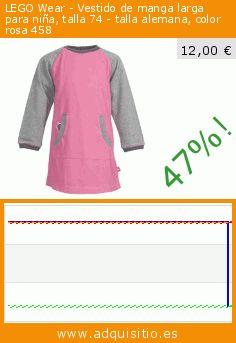 LEGO Wear - Vestido de manga larga para niña, talla 74 - talla alemana, color rosa 458 (Ropa). Baja 47%! Precio actual 12,00 €, el precio anterior fue de 22,77 €. https://www.adquisitio.es/lego/wear-vestido-manga-larga-2