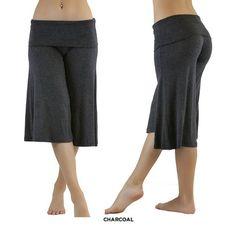 Wide-Leg Capri Yoga Pants - Black or Charcoal