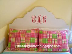 Cute girls headboard. Monogram.