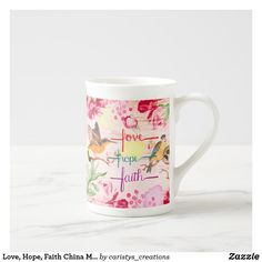 Love, Hope, Faith China Mug Unique Home Decor, Home Decor Items, Extra Large Coffee Mugs, Great Housewarming Gifts, Porcelain Mugs, China Mugs, Dog Design, Nursery Wall Art, Decorative Items