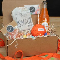 Surprise Ball Goody Box - Orange Soda Box - Send A Gift // Thank You Gift // Birthday Gift // Congratulations Gift // College Care Package by ConfettiGiftCompany on Etsy