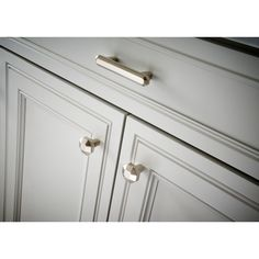 Looking for that right amount of character for your cabinets? The Serafina collection at bring a hint of glam to your home with its polished nickel finish and octangular style. Cabinet Decor, Cabinet Knobs, Cabinet Hardware, Laundry Cabinets, Kitchen Hardware, Knobs And Pulls, Kitchen Hacks, Nickel Finish, Polished Nickel