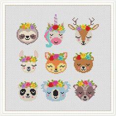 Unicorn Cross Stitch Pattern, Disney Cross Stitch Patterns, Modern Cross Stitch Patterns, Cross Stitch Designs, Unicorn Pattern, Tiny Cross Stitch, Cross Stitch Animals, Cross Stitch Charts, Kawaii Cross Stitch