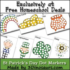 Free St. Patrick's Day Worksheets: Dot Marker Printables from 3 Dinosaurs. These would work great with pom poms too :)