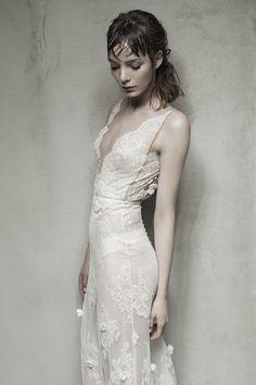 VANIRA - Flower embellished Chantilly lace V-neck gown.