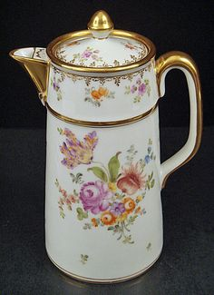Charming Antique Dresden Chocolate Pot produced in Germany in the late 19th century | richly shiny gold guilded