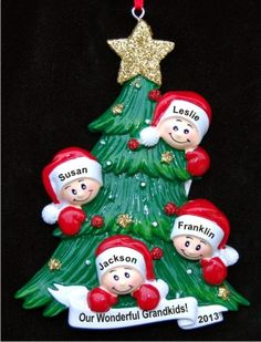 My Four Grandkids Looking Out for Santa Christmas Ornament Personalized