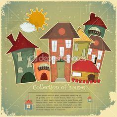Коллекция домов на старинный фон — Стоковая иллюстрация #10302170