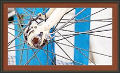Abstract Vintage Bicycle Spokes Blue And White Framed Print By Angela Bonilla.  Old bikes with rust.