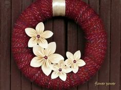 door wreath with kusudama paper flowers. $21.00, via Etsy.