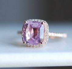 Pink Sapphire Ring 14k Rose Gold Diamond Ring by EidelPrecious