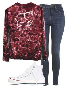 """ivory ella shirt - insp"" by littlemixmakeup ❤ liked on Polyvore featuring Topshop and Converse"