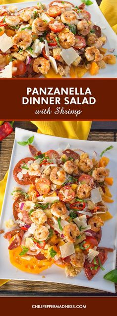 Panzanella Dinner Salad with Shrimp – Our version of the classic Tuscan salad recipe made with dressing soaked bread, fresh heirloom tomatoes, sweet chili peppers, seared shrimp and more. Panzanella for dinner, or a sharable brunch.