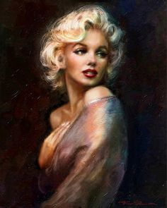 Stunning portrait painting of Marilyn Monroe / Norma Jean Mortenson by Thoe Danella - She started using the name in 1946 but didn't legally change it until She appeared on the first cover of Playboy magazine in Marilyn Monroe Kunst, Marilyn Monroe Artwork, Marilyn Monroe Decor, Marilyn Monroe Drawing, Marilyn Monroe Hair, Marilyn Monroe Tattoo, Norma Jeane, Belle Photo, Old Hollywood