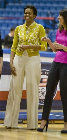 Michelle Obama. I couldn't do the yellow cardigan, but the proportions of this outfit are so good.