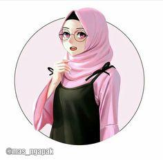 Cute Cartoon Wallpapers, Cartoon Pics, Girl Cartoon, Couple Cartoon, Hijab Anime, Anime Muslim, Hijabi Girl, Girl Hijab, Hijab Drawing