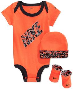 1c84b1e2cc0ca8 Nike Baby Boys  3-Piece Orange Bodysuit