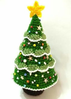 Crocheted Christmas tree Árvore de Natal