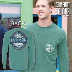 Kappa Alpha Faded Green Comfort Colors Long Sleeve Pocket Tee