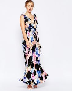 Image 4 of Traffic People Maxi Dress In Blurred Floral Print