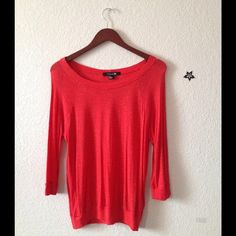 Orange flowy blouse 3/4 sleeve, see through material Forever 21 Tops Blouses