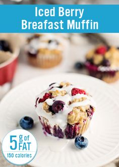 With yummy mixed berries, yogurt and bananas, you can start your day off sweetly with these Iced Berry Breakfast Muffins that you can pair with a yummy smoothie or side dish. With only 5 grams of fat per muffin, this breakfast is sure to become a favorite in your household! alli® weight loss aid can help you achieve a healthier you.  Nutrition facts are estimates only.